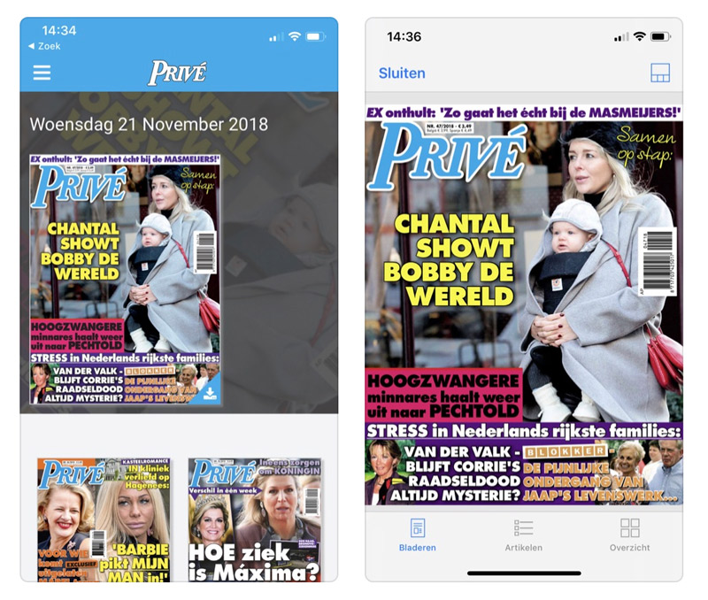 Prive digitaal lezen in de app